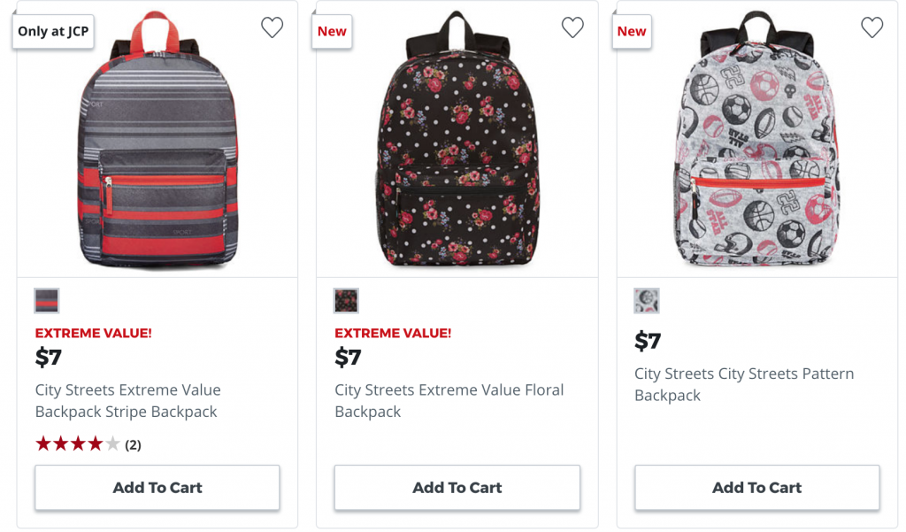 0cea79d64fe7 Backpacks As Low As  4.50 Each   Lunch Boxes  3.00 Each At JCPenney ...