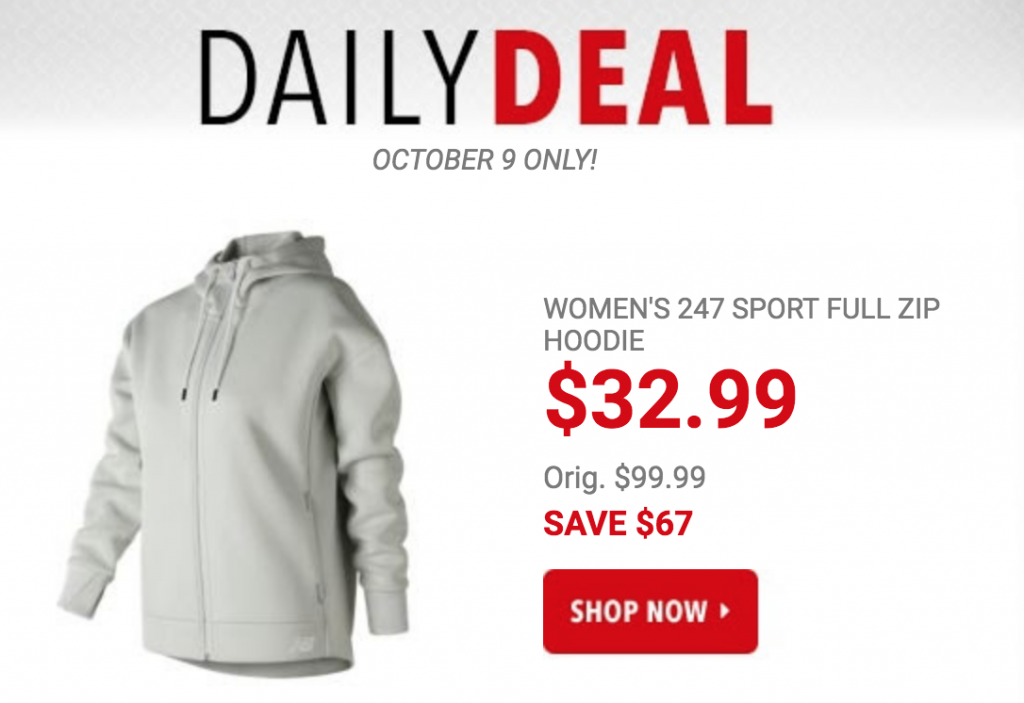 e002485997964 Today only , October 9th, you can get the New Balance Women's 247 Sport  Full Zip Hoodie for just $32.99! (Regularly $99.99) That is a savings of  $67.00!