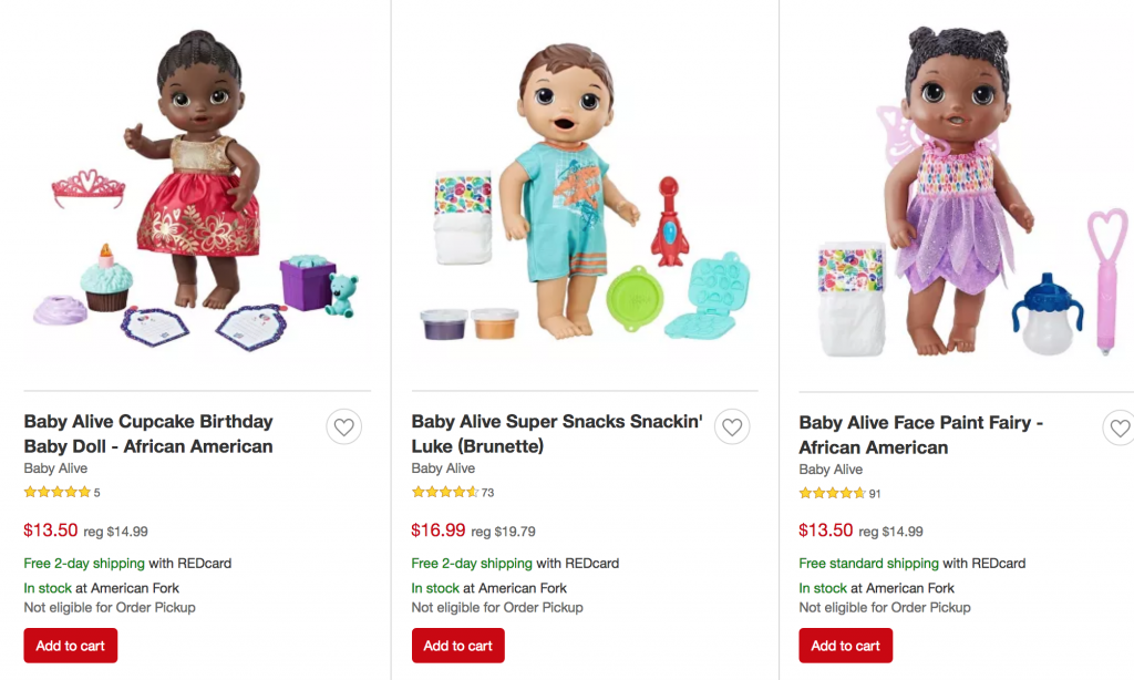 7301935fff89 Target has most of their Baby Alive Dolls on sale! Couple their sale prices  with your unique promo code to take 25% off any toy item and you can get a  Baby ...