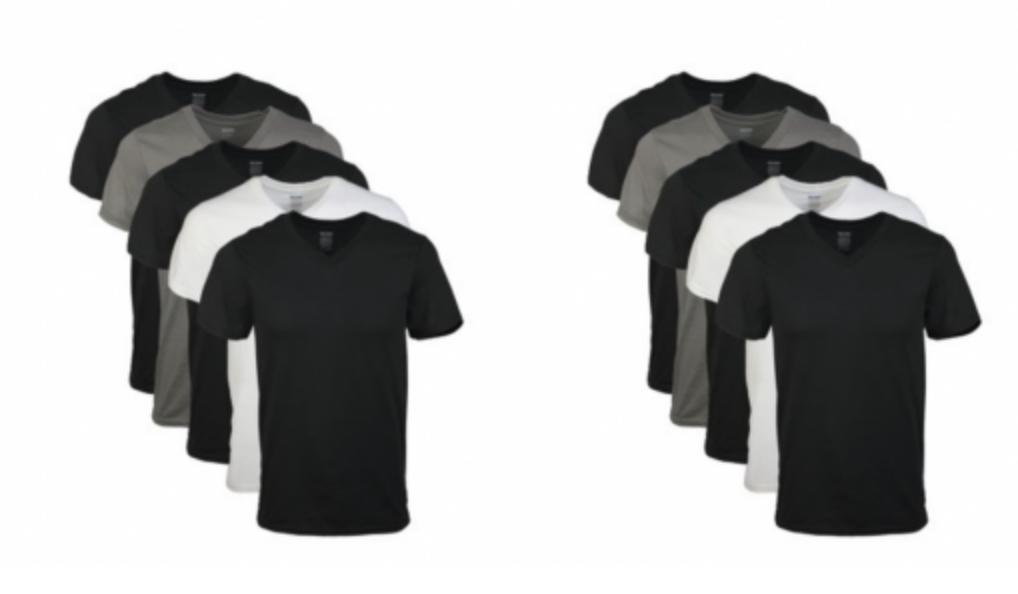 3897798ee7c Gildan Mens Short Sleeve V-Neck Assorted Color T-Shirt 5-Pack Just  10.17!