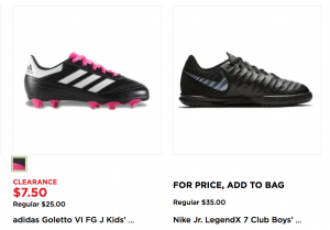 7aad0deab0a I also found some great deals on soccer cleats and indoor shoes. Get Adidas soccer  cleats for just 7.50! (Regularly  25.00) Or snag the Nike Jr. LegendX 7 ...