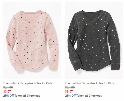 f121ea8e These Thermal-Knit Tees are down to just $3.97 and with the extra 25% off  they drop to $2.97! It looks like most of their items are ...