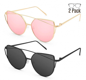 c90a0159c5ee1c 2 Pack of Cat Eye Mirrored Flat Lenses Metal Frame Sunglasses just  13.98