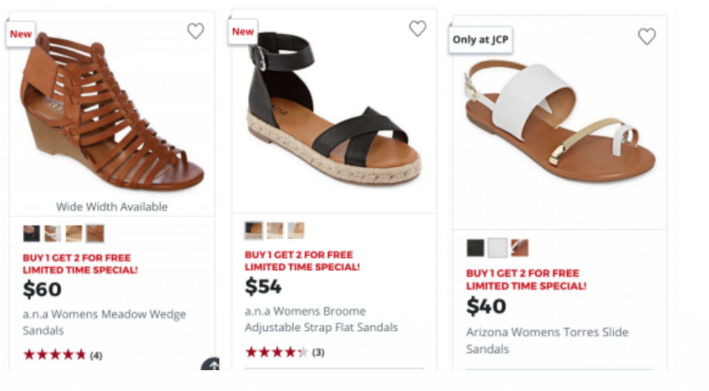 9fc82a7ffd96 Time to stock up on sandals! Head over to JCPenney where you can shop women s  sandals Buy 1 Get 2 FREE! Snag a pair for sandals for as low as  40 and  then ...