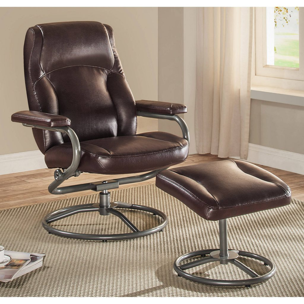 Mainstays Plush Pillowed Recliner Swivel Chair And Ottoman