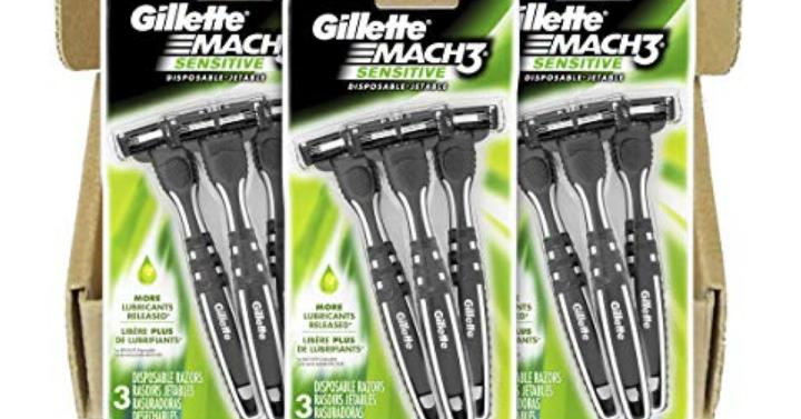 Gillette Mach3 Sensitive Mens Disposable Razors 9 Razors Only 1646