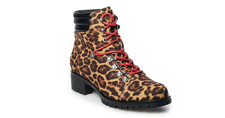 Hiking Boots in Leopard Print