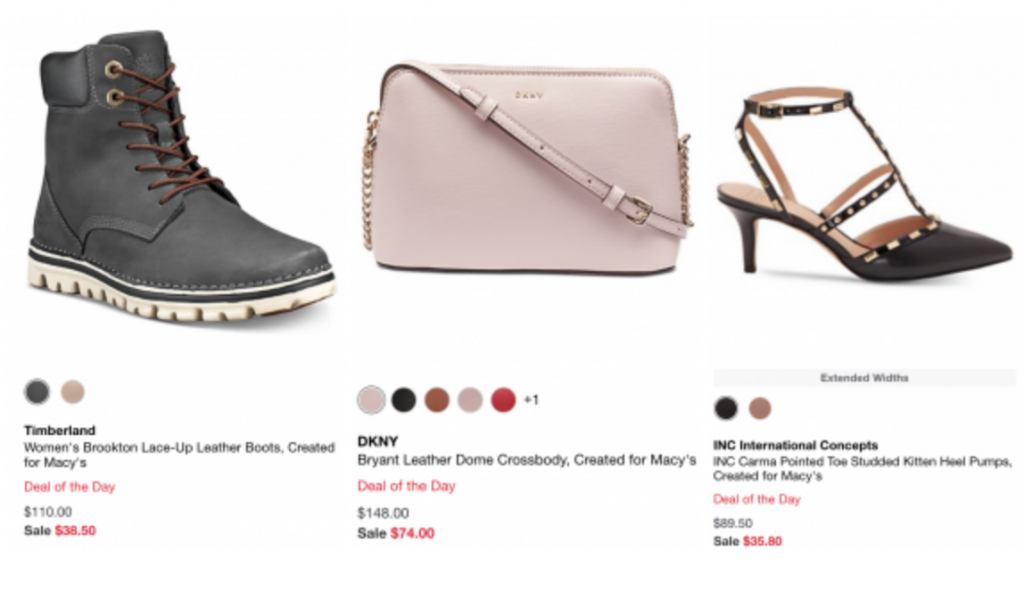 macy's deal of the day shoes