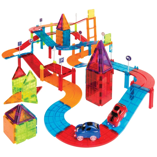 105 Piece Kids Magnetic Tile Car Race Track Set with 2 Cars Only .99 Shipped! (Reg .99)